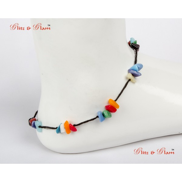 Anklet with Multicoloured Stones AN 1