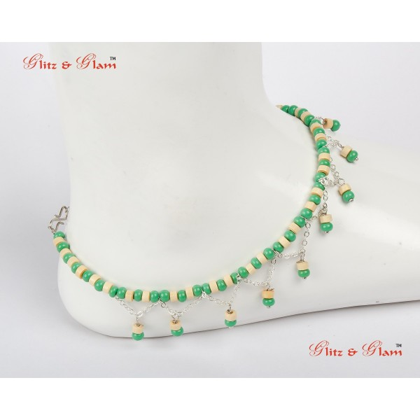 Anklet with Dangling Emerald Beads AN 21