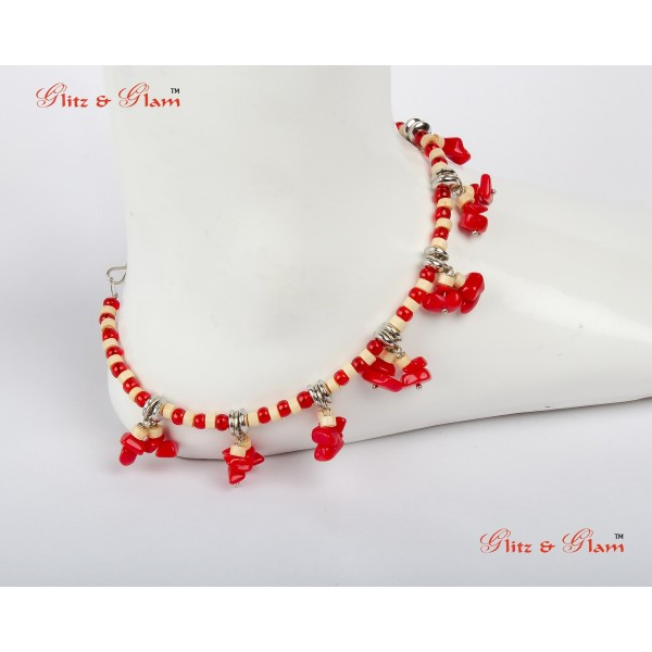 Anklet with Orange-hued Corals AN 23